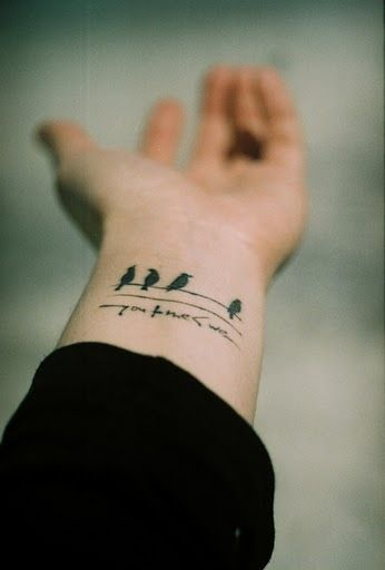 Small Inner Wrist Tattoos Birds: Birds Facing Me Text Facing Out. I Like It!