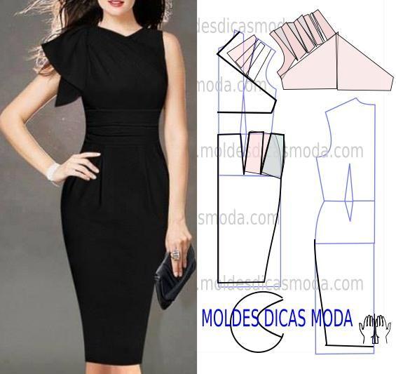 Este molde vestido preto foi sugerido por uma seguidora já há algum tempo mas como os pedidos de solicitação são muitos só agora foi possível publicar. Ana