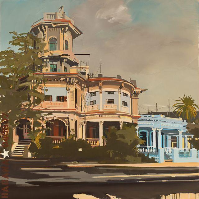 Tableau de la Havane par Michelle Auboiron - La maison tour