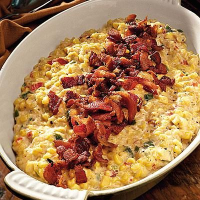 Creamy Fried Confetti Corn | One of our most popular corn side dishes, this corn casserole does not disappoint. The sprinkle of bacon cuts the creamy richness of the dish, making it easy for this casserole to pair with just about anything. | SouthernLiving.com
