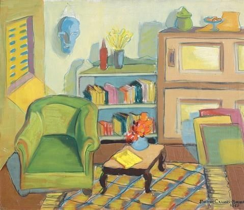 Interior with a blue mask by Bettie Cilliers-Barnard
