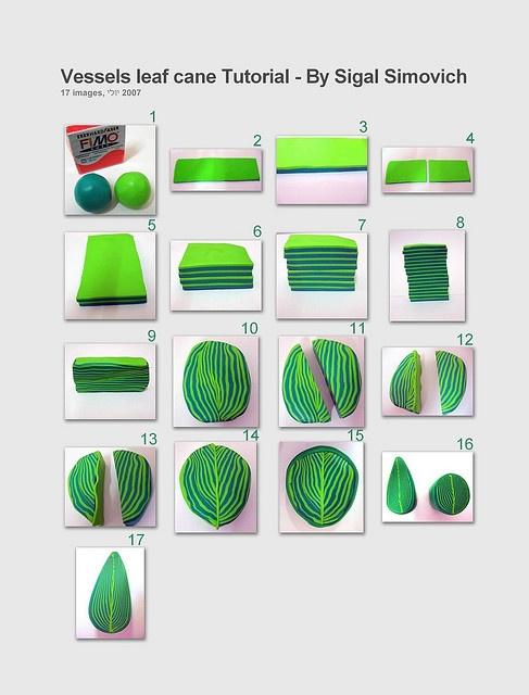 leaf tutorial - Fimo, Cernit et accessoires : http://www.creactivites.com/236-pate-polymere