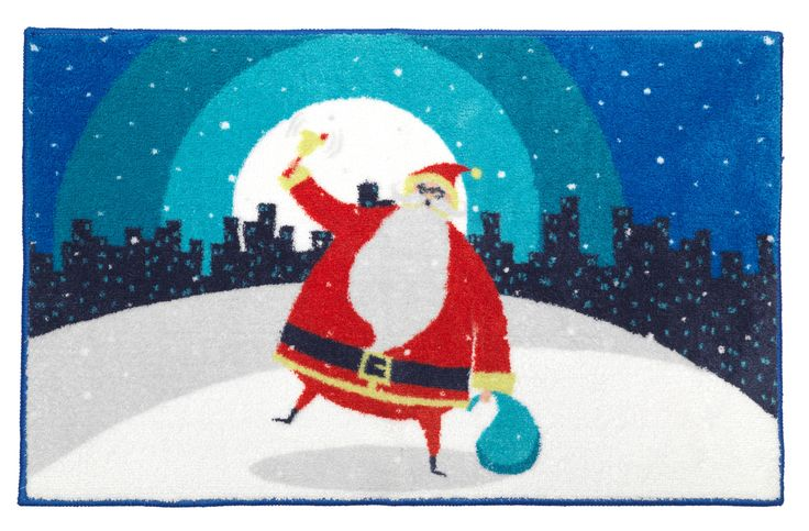 """Santa in the City Bathroom Rug with Non Skid Backing 19""""x31"""""""