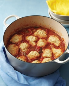 Chicken with cornmeal dumplings This stew has a zesty New Orleans feel. Ice down the beer and crank up the music!