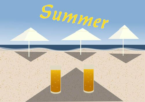 For today we have an simple clasic summer vector, with beach sand, sun, beach umbrellas and blue water and sky.