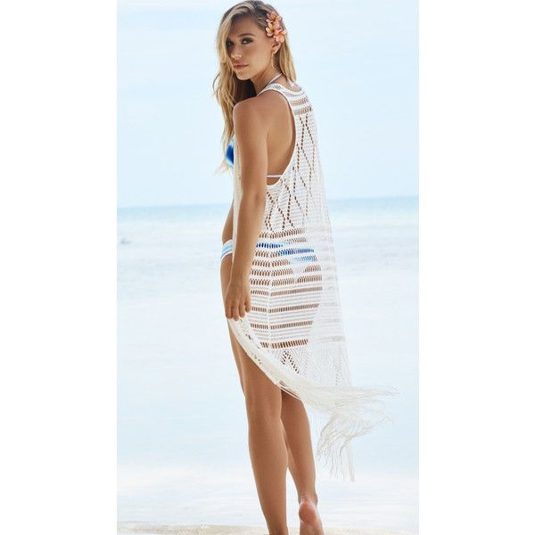 Beach Bunny Swimwear Desert Dreamer Duster Cover Up White ($145) ❤ liked on Polyvore featuring swimwear, cover-ups, bathing suit cover ups, white swim cover up, swim suit cover up, white cover up and bathing suit cover up