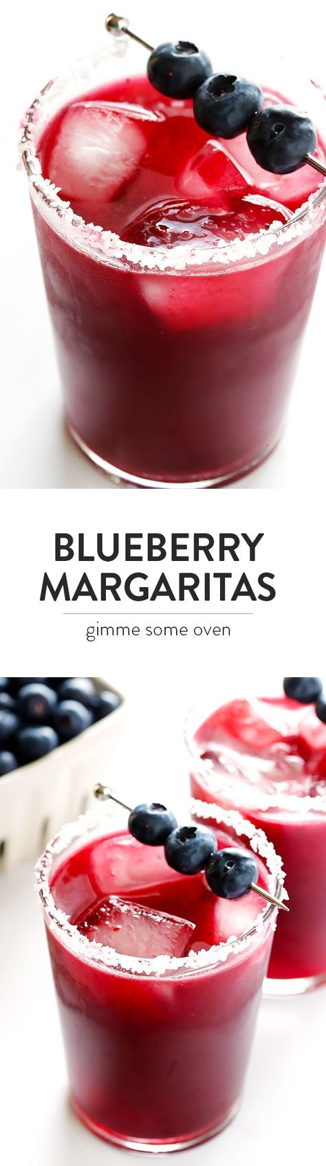 This refreshing blueberry margaritas recipe is sweetened with lots of fresh blueberries, it's quick and easy to make, and always a crowd favorite!