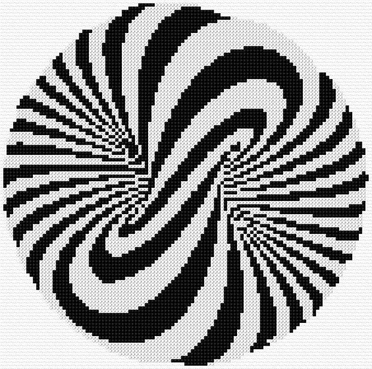 psychédélique-psychedelic-point de croix-cross stitch-embroidery-monochrome