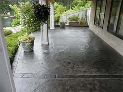 Stained concrete porch want to do this to renew our front for Stained front porch