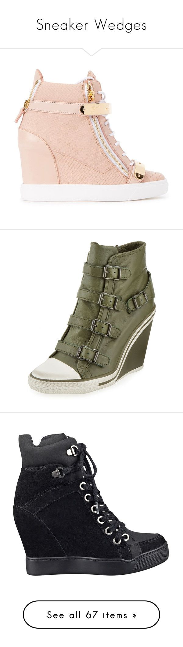 """""""Sneaker Wedges"""" by claudcsilva ❤ liked on Polyvore featuring shoes, sneakers, heels, wedges, leather high top sneakers, leather sneakers, heel sneakers, velcro wedge sneakers, lace up wedge sneakers and military"""