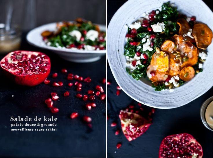 """Salade de Kale, Patate douce et grenade... Le Kale (à prononcer """"kayle"""") qu'on traduit à tort """"le chou frisé"""" est une variété ancienne de chou vert. Chou frisé non-pomme, chou plume, chou borécole, chou vert demi-nain, chou à lapin ou chou à vache, en français, le kale porte plusieurs noms depuis longtemps oubliés, eux aussi."""