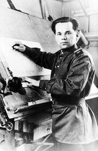 Senior Sergeant Mikhail Kalashnikov as he designed his AK-47 assault rifle, 1947