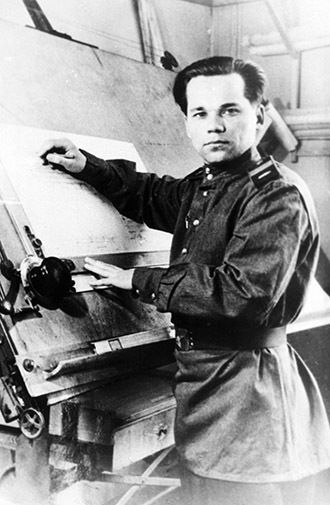 Senior Sergeant Mikhail Kalashnikov as he designed his AK-47 assault rifle, 1947: