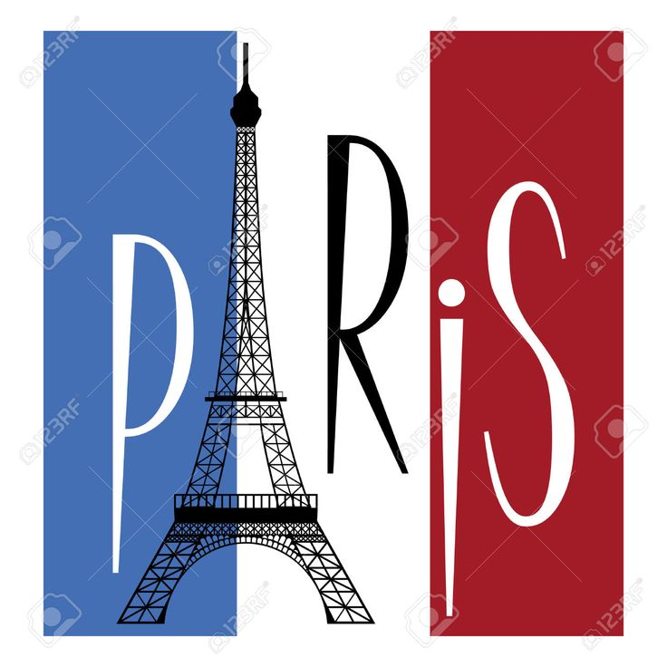 Eiffel Tower Over Flag Of France And Text Of Paris Royalty Free ...