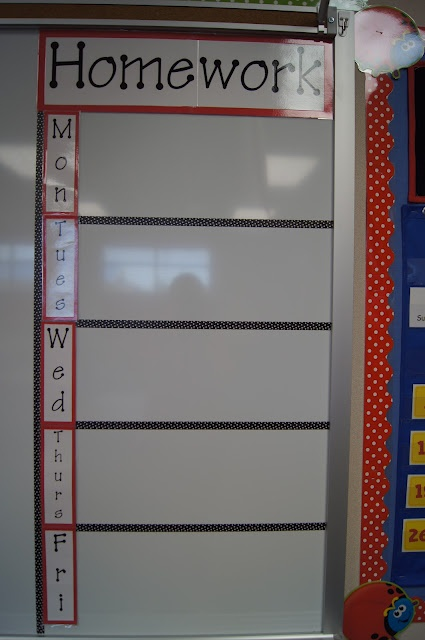 LET'S DO THIS ANITA--before end of year so it's ready for next year when we are too tired to get it done! --Homework Board: This would be good in our big area.