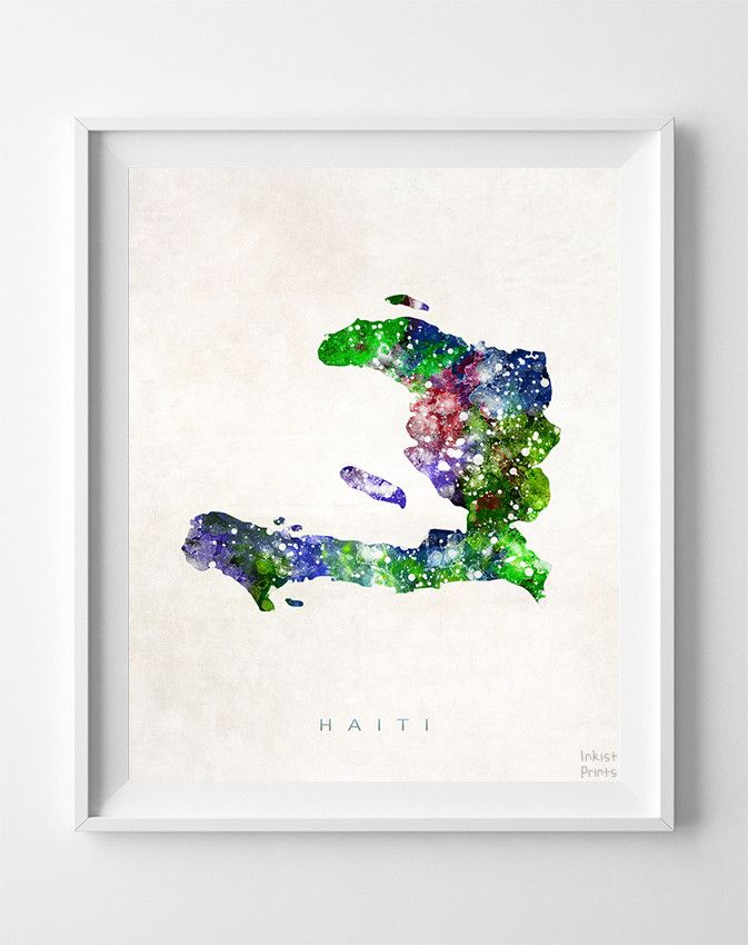 Haiti Watercolor Map Print