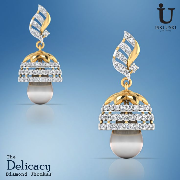 The Delicacy Diamond Jhumka are a forever classic.#Jhumkas #DiamondJhumkas #GoldJhumkas #IskiUski