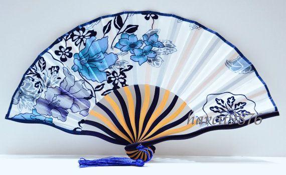 Silk fabric Japanese hand fan wedding folding fan white blue flowers on Etsy, $3.99