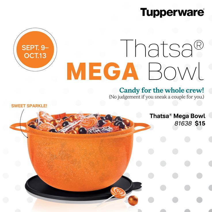 Tupperware Orange Sparkle Bowl! 42 cups! It's the must-have bowl for the season when preparing a variety of foods and recipes from cookie dough to garden-fresh salads. Built-in thumb handle offers superior control when mixing or tossing.
