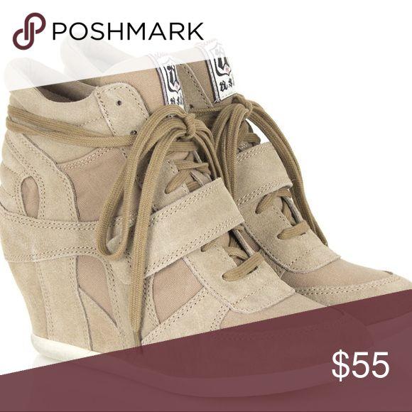 ASH bowie sneaker wedge sz 8 Beige suede sneaker wedge, Never worn! Ash Shoes Sneakers