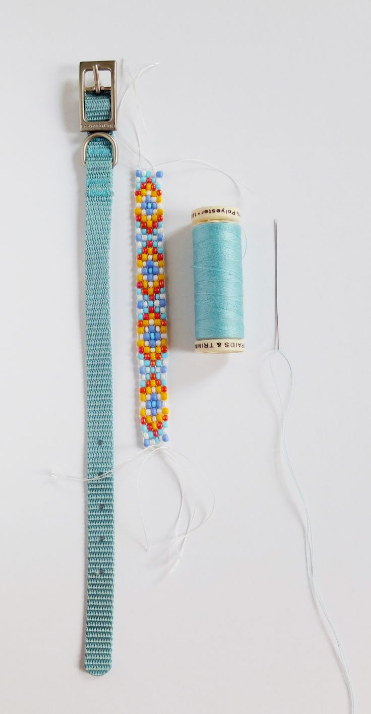 Beaded Dog Collar DIY at The Drop Stitch! Get the tutorial today. Dog Crafts!