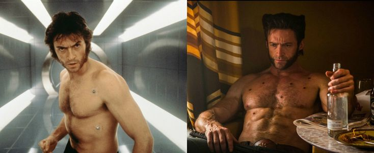 before after wolverine Hugh Jackmans Wolverine Diet and Workout Plan
