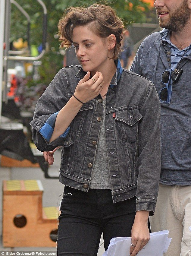 Hollywood star: Kristen is shown earlier this month on the set in New York City...
