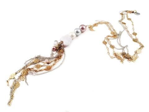 Calcedony and pearls long lariat necklace. Perfect for parties, summer time and gift for her.