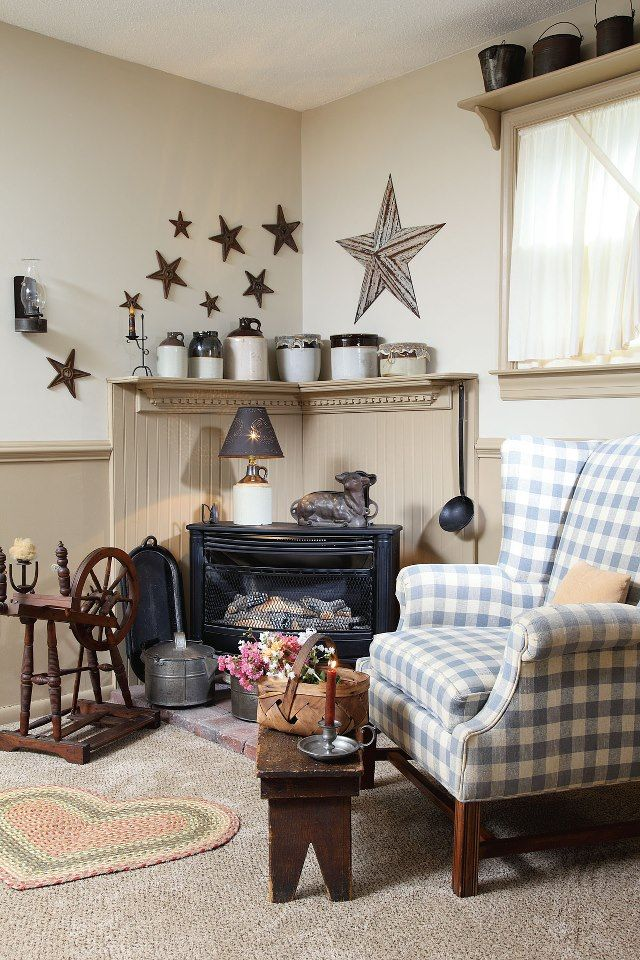 Virginia home primitive charm Colonial tradition and a dash of French country flair merge to create a warm and wel ing design with homespun style