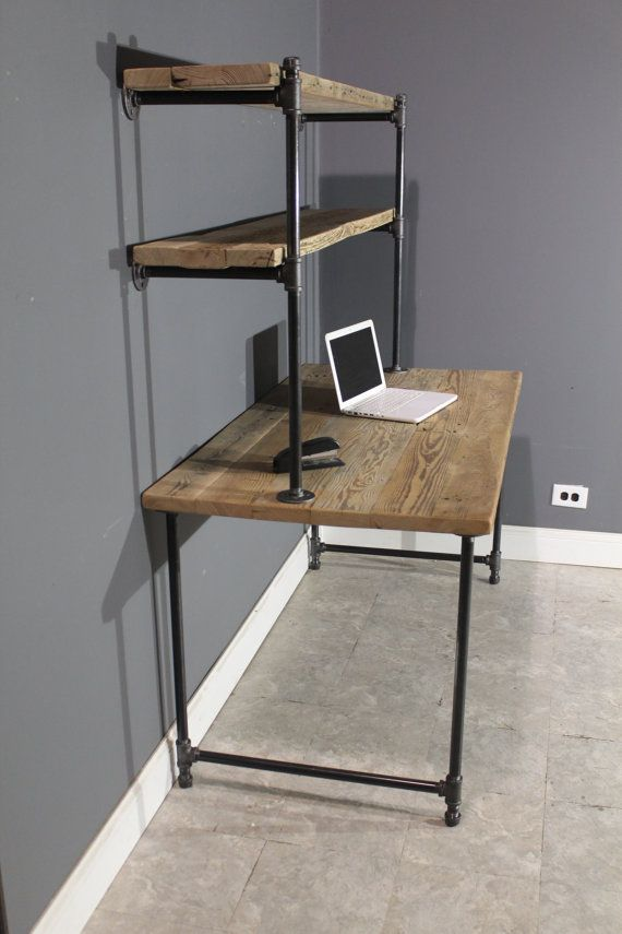 Raw Reclaimed Computer Desk W/ 2 Shelves Attach To Wall   Industrial Gas  Piping For Leg Base U0026 Shelf   FAST Shipping