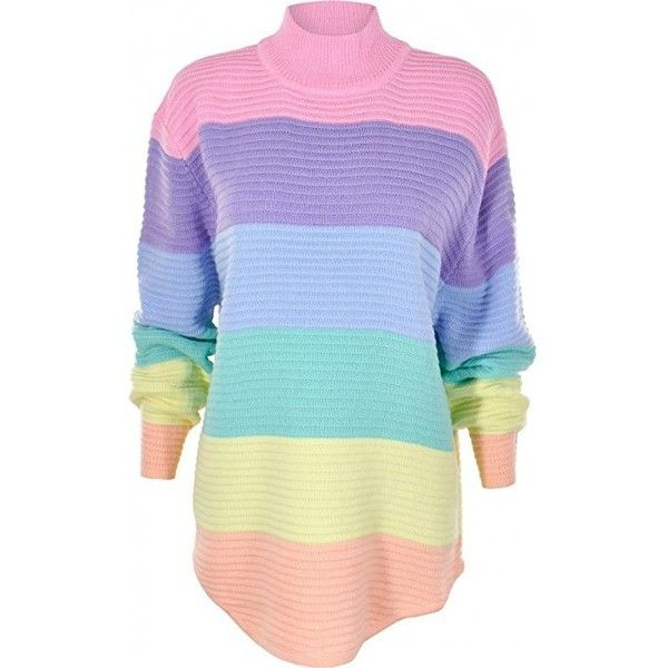 UNIF Frost Pastel Rainbow Turtle Neck Knit Jumper Pink L ❤ liked on Polyvore featuring tops, sweaters, pink turtleneck, pastel pink jumper, blue turtleneck sweater, pink turtleneck sweater and knit turtleneck sweater