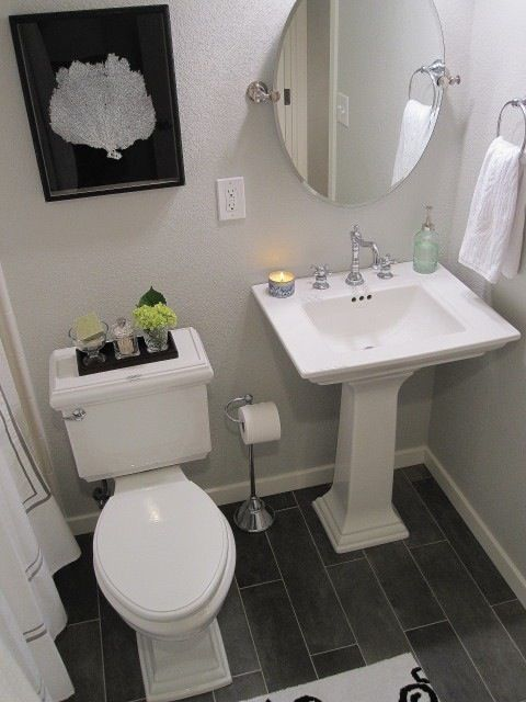 Maybe We Can Replace Current Sink With Pedestal Sink Like The Mirror And The Floor Small Basement Bathroomdownstairs