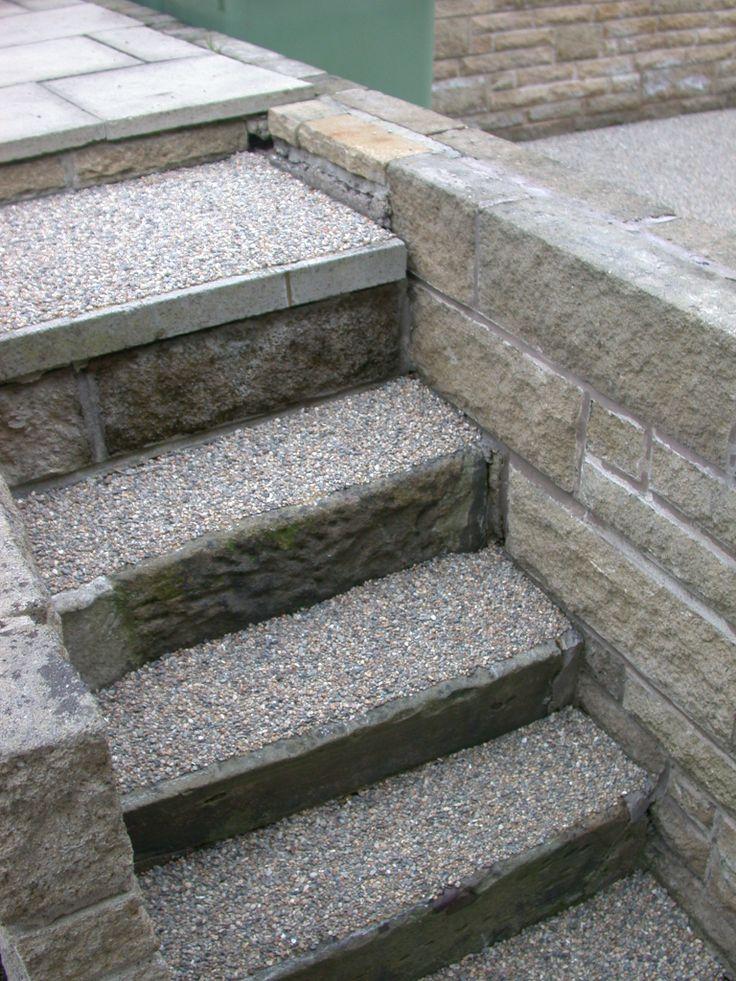 resin bonded gravel steps. Anti slip surfacing for concrete
