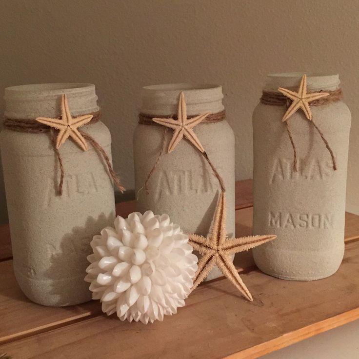 pinterest mason jar bridal shower favors%0A Beach painted Mason jars Beach wedding Mason jar centerpieces Beach wedding  decor Beach home decor https