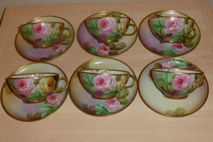 Richard Ginori tea set,service 6 cups and 6 saucers,hand painted roses 1880-1920