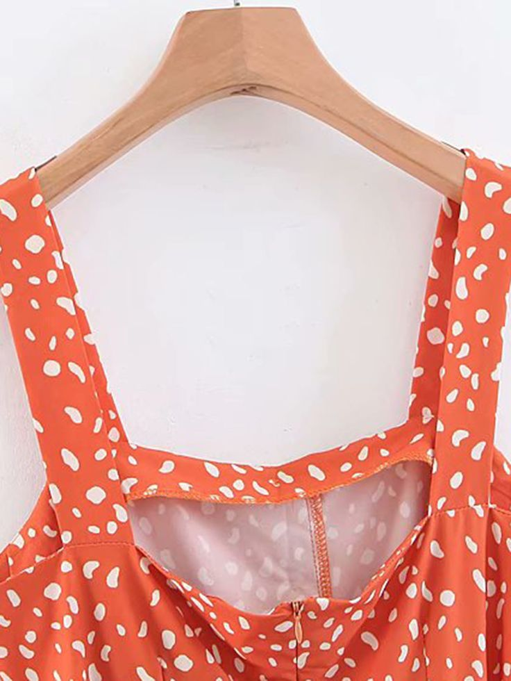 Self Tie Dalmatian Print Jumpsuit