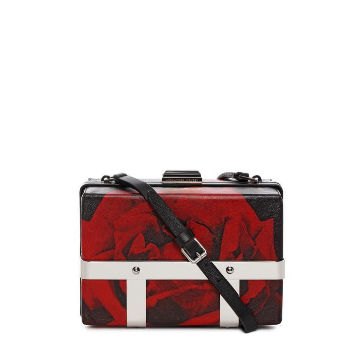 Rose Print Leather Large Caged Bag Alexander McQueen | Shoulder Bag | Bags |