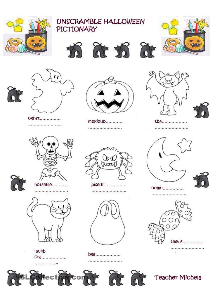 Unscramble Halloween pictionary   Halloween