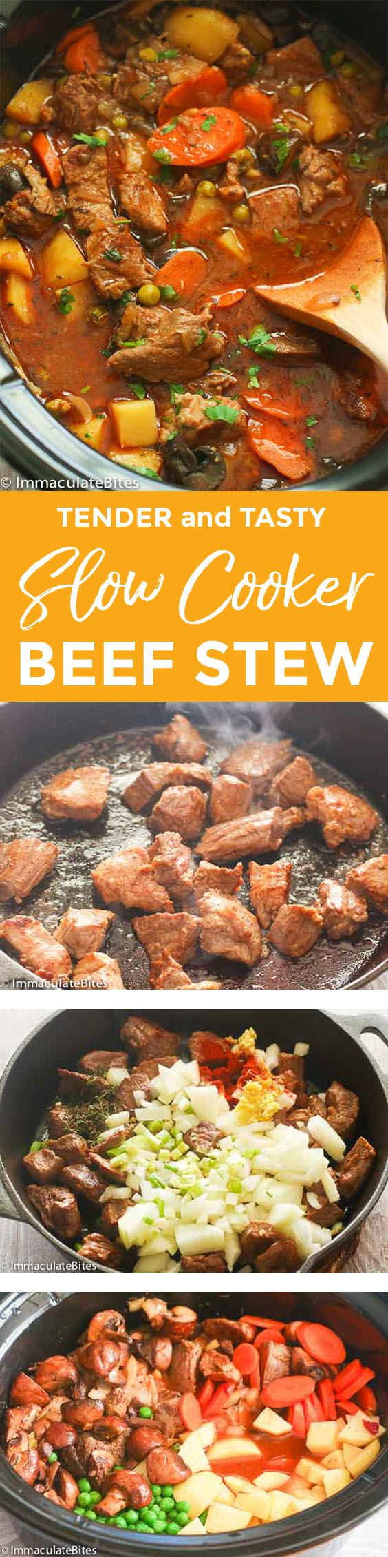 Slow Cooker Beef Stew – a savory, hearty bowl of beef stew slowly cooked to perfection with the aroma from onion, ginger, fresh thyme and smoked paprika and some vegetable add ons of potatoes, carrots and peas. A perfect winter season comfort food! This is the season of the year where I …