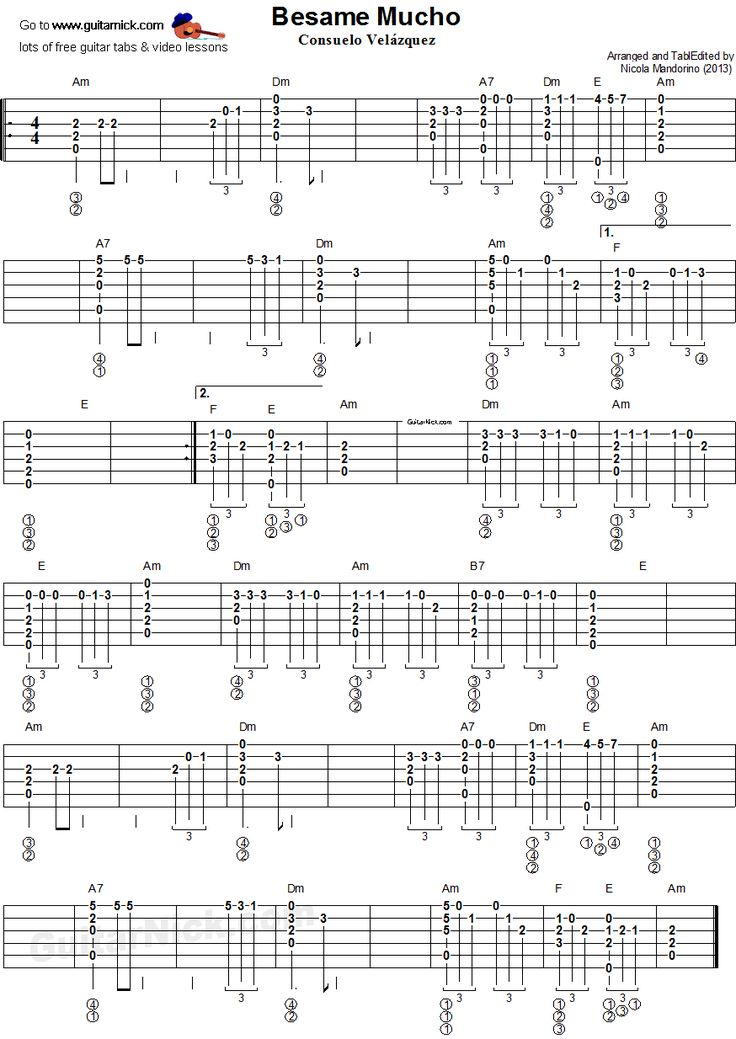 Besame Mucho - fingerstyle guitar tablature