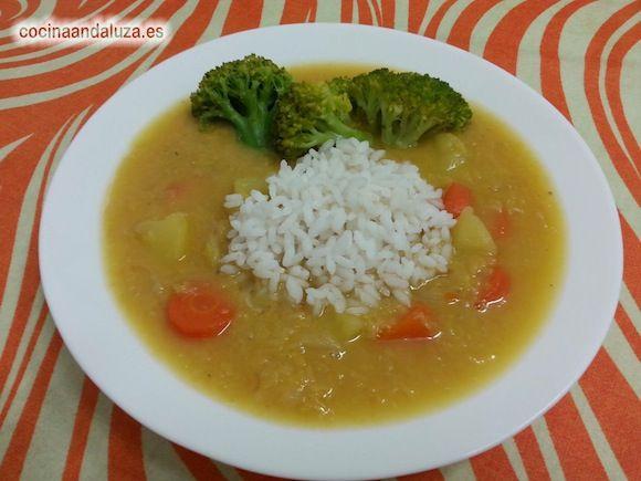 Sencilla receta con fotos paso a paso de potaje de lentejas rojas con brocoli - Vídeo de la receta