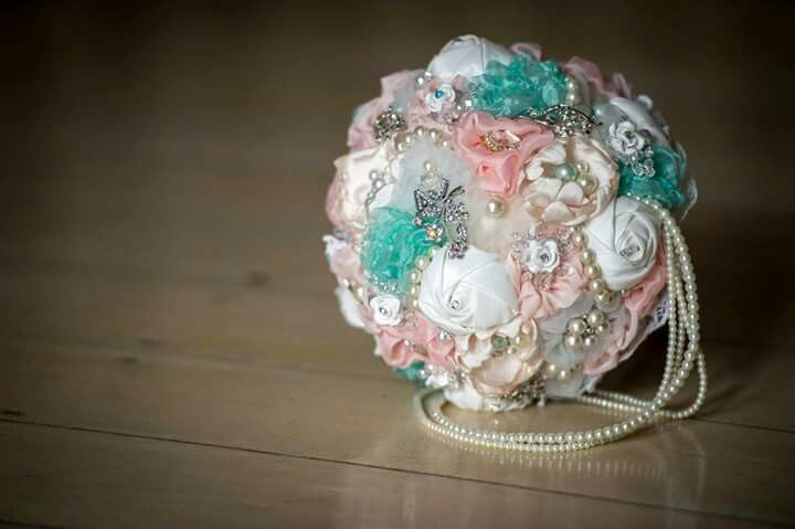 My bouquet, jeweled/ brooch bouquet.  Pink and blue