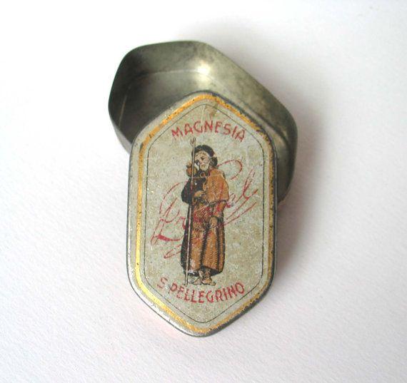 Antique Tin Box of Magnesia San Pellegrino/Prodel  by madlyvintage