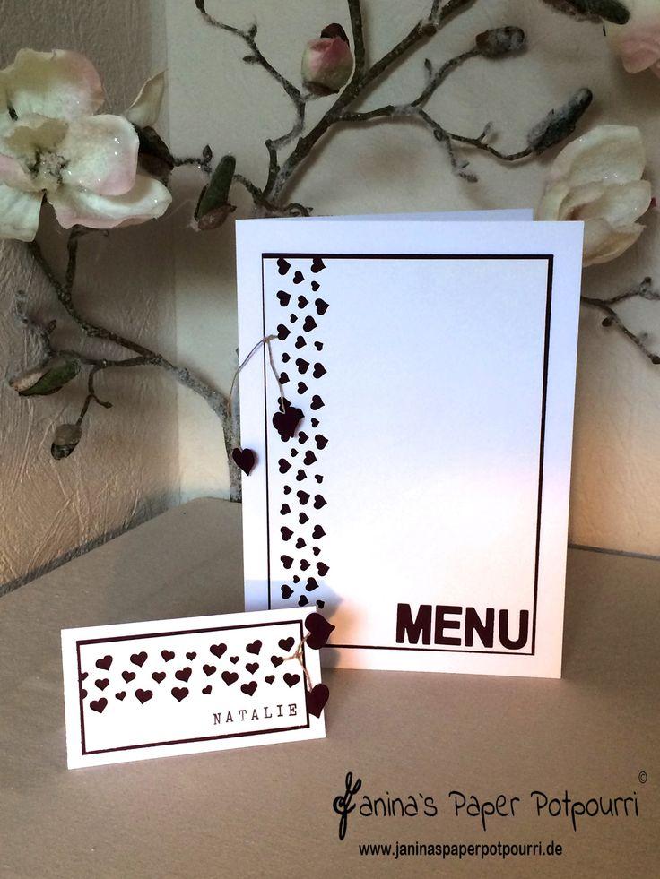 Herzkonfetti Hochzeit Papeterie / Wedding Stationary / menu / Tischkarte / Stampin' Up! / Herzkonfetti Stanze / Cheers to Love www.janinaspaperpotpourri.de
