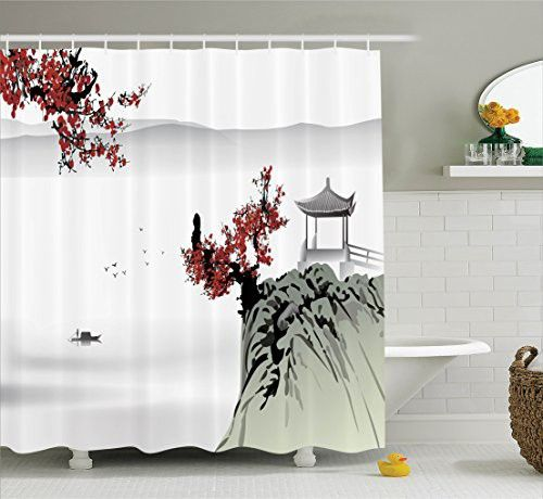 Asian Decor Shower Curtain Set By Ambesonne, Asian River Scenery With Cherry Blossoms And Boat Cultural Hints Mystical View Artsy Work, Bathroom Accessories, 69W X 70L Inches, Grey Red