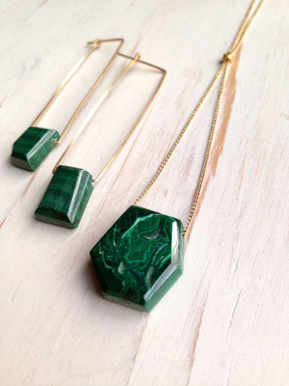 $48 Malachite Necklace Malachite Jewelry Gemstone by RobinWoodard