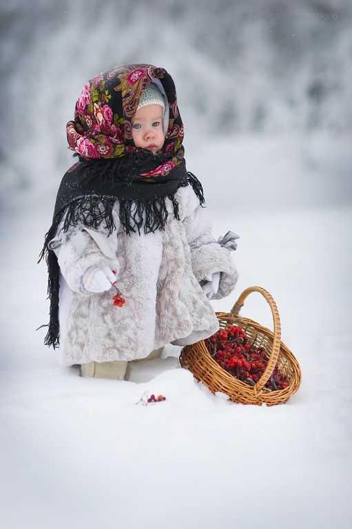 Little Ukrainian girl in the snow