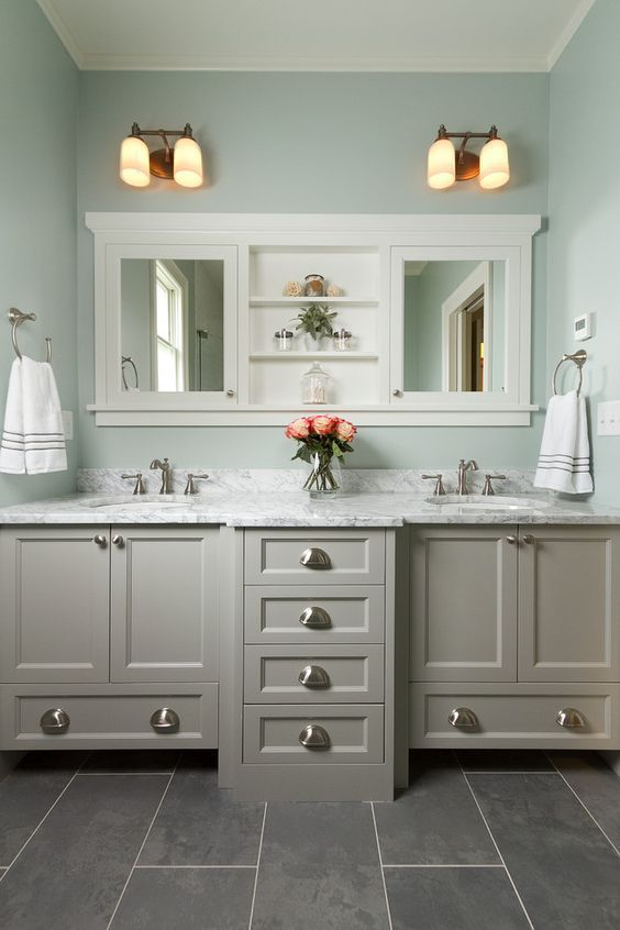 Master Bathroom With Double Vanity, Marble Countertop, Mint Walls, Slate  Tile Flooring