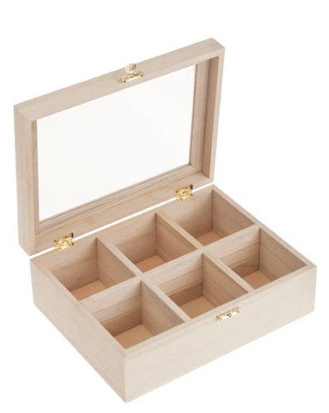 Box per tè di legno - 6 posti