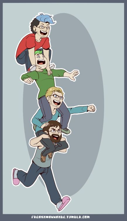 "freakxwannaxbe: The ""cool"" kids hangin' out therealjacksepticeye: this is awesome!! Markiplier, Jacksepticeye, PewDiePie, and CinnamonToastKen"